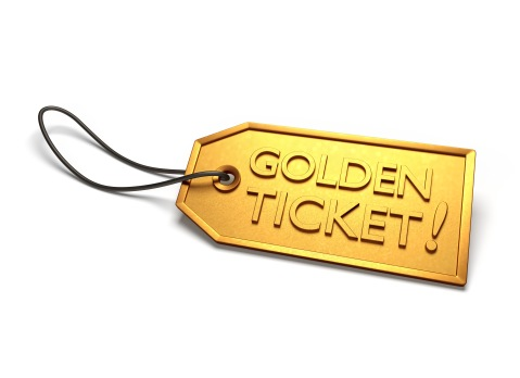 Illustration of a golden ticket on a white background